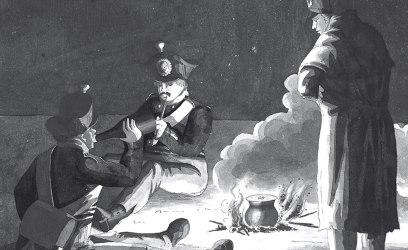 Soldater kring en lägereld, sannolikt från kriget i Finland 1808–09 eller från kriget på kontinenten 1813–14. Teckningen är gjord av officeren Carl Johan Ljunggren, som deltog i båda dessa krig. Bild: Historisk bildbyrå.