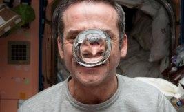 Astronauten Chris Hadfield experimenterar med vatten i tyngdlöshet ombord på rymdstationen ISS. Bild: NASA.